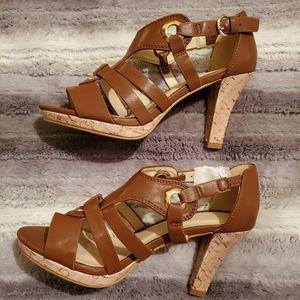 Brand new brown heeled sandals
